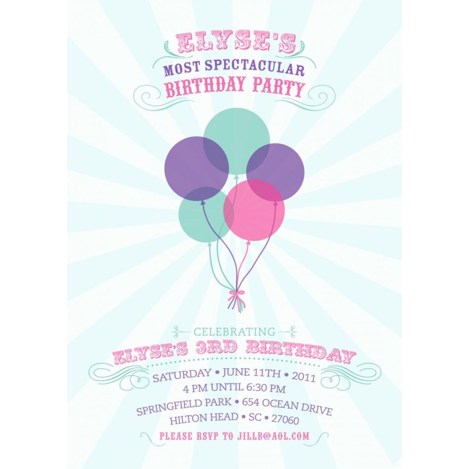 Balloon Birthday Invitations  Spectacular Balloons Birthday Party Printable Invitation