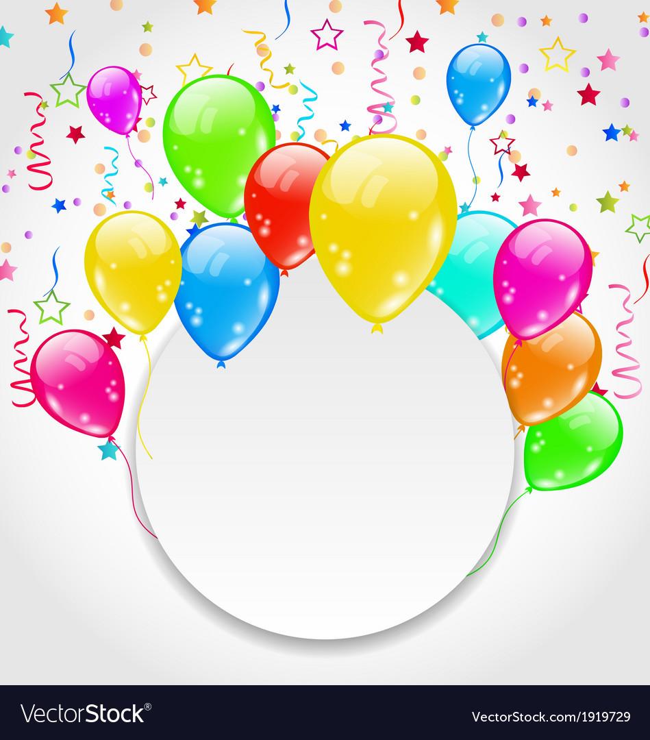 Balloon Birthday Invitations  Birthday invitation with multicolored balloons and