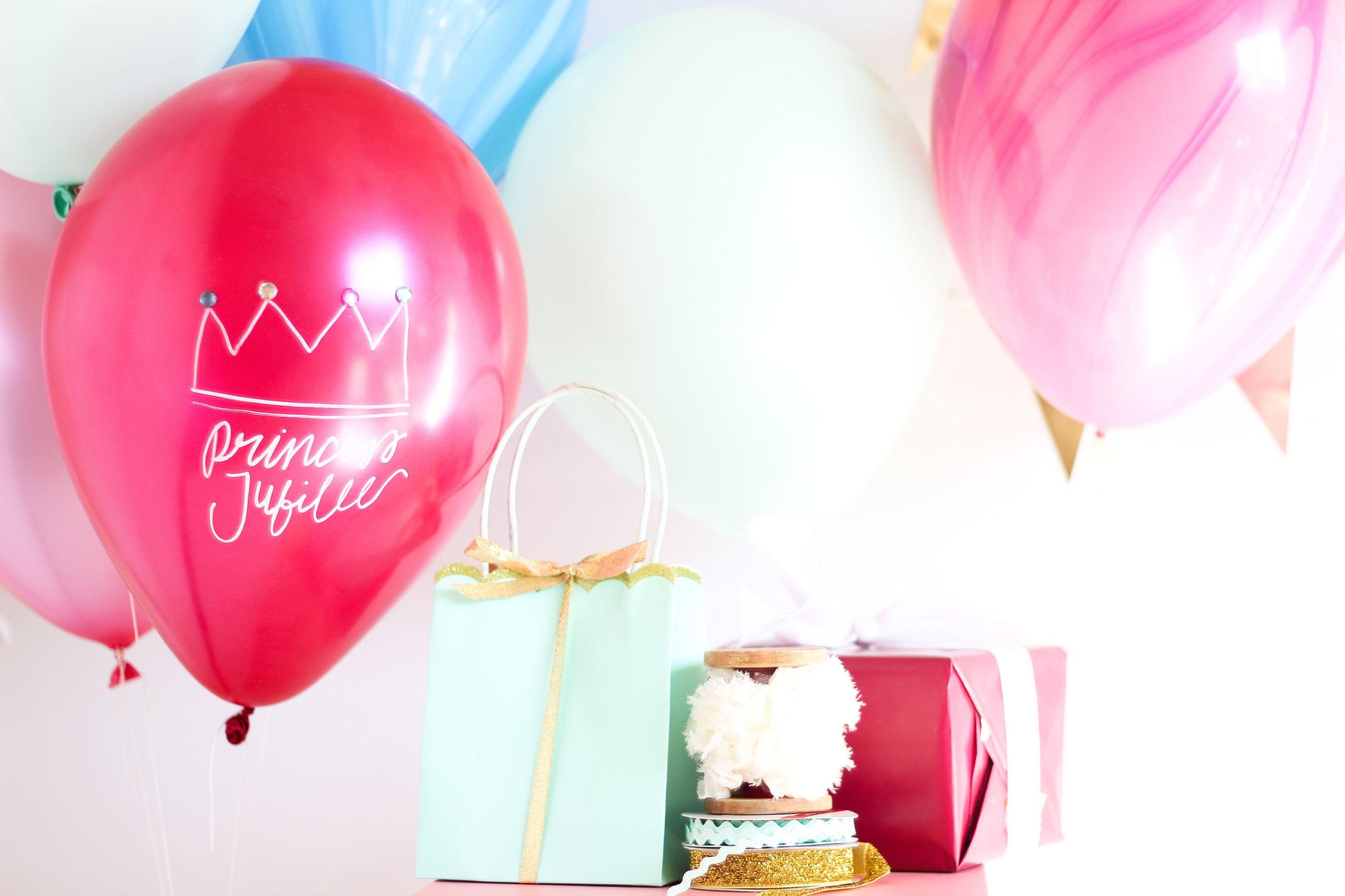 Balloon Birthday Invitations  Royal Princess Balloon Invitations Birthday