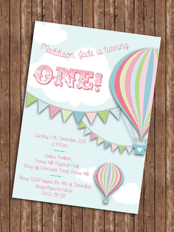 Balloon Birthday Invitations  Hot Air Balloon Birthday Invitation
