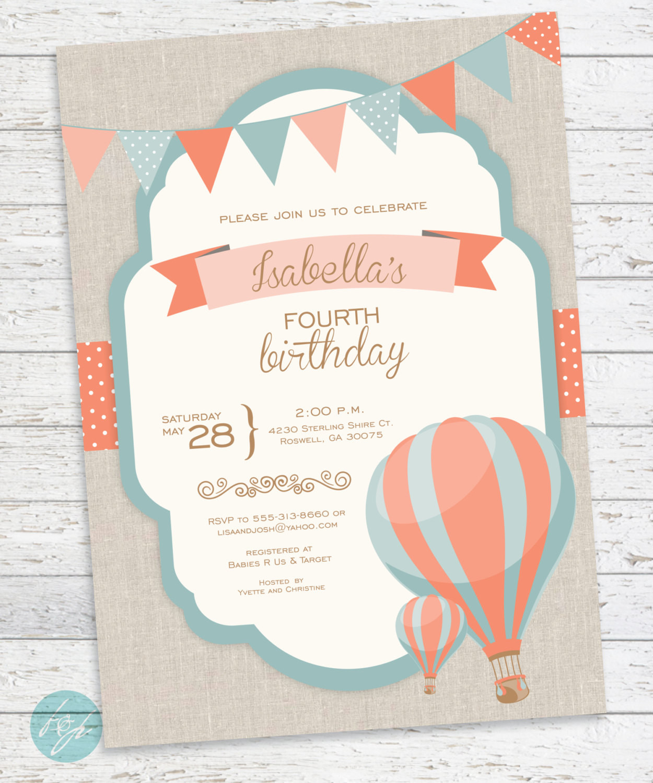 Balloon Birthday Invitations  Hot Air Balloon Invitation Birthday Invitation by