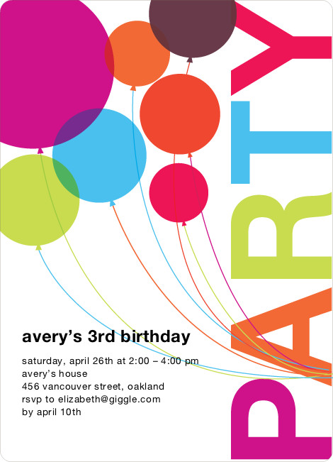 Balloon Birthday Invitations  Rainbow Balloons Birthday Party Invitations