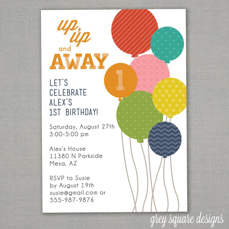 Balloon Birthday Invitations  Modern Balloons Birthday Invitation