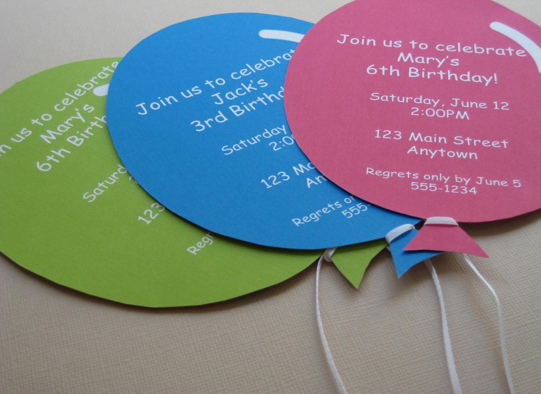 Balloon Birthday Invitations  Personalized Balloon Party Invitations Handmade