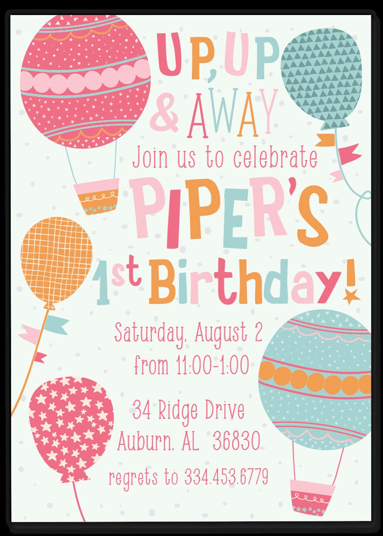 Balloon Birthday Invitations  Balloon Birthday Party Invitation – Gilm Press