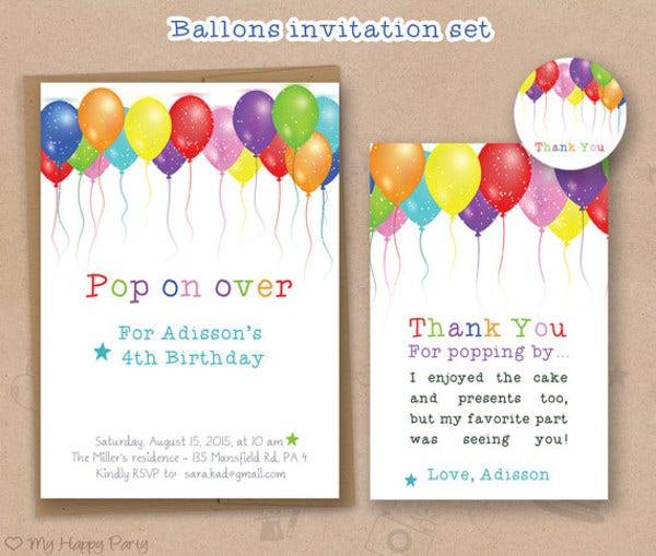 Balloon Birthday Invitations  30 Beautiful Kids Birthday Invitations PSD EPS AI