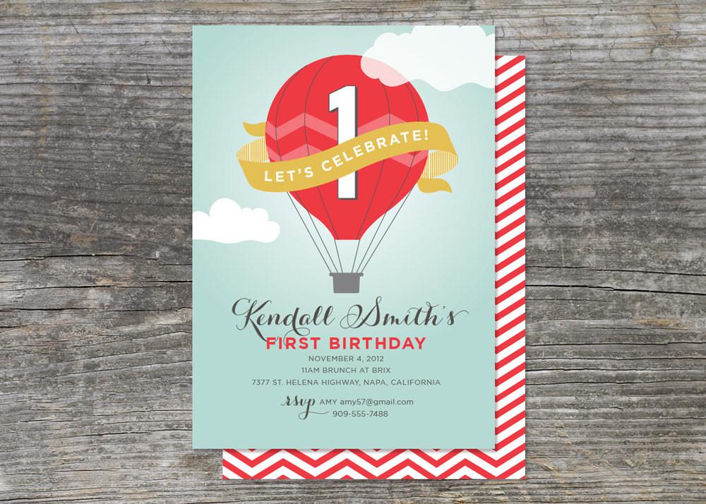 Balloon Birthday Invitations  Hot Air Balloon Birthday Party Invitation Up by