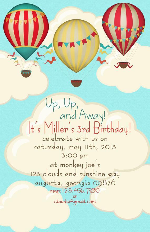Balloon Birthday Invitations  Hot Air Balloon Birthday Party Invitations