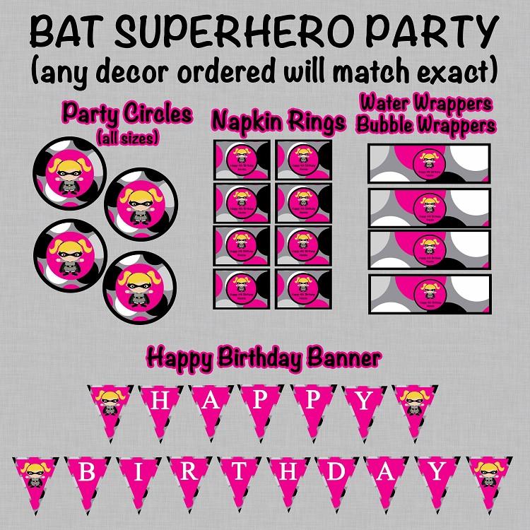 Batgirl Birthday Party Supplies  Batgirl Superhero Birthday Invitations