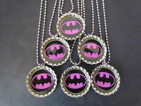 Batgirl Birthday Party Supplies  Batgirl Bottle Cap Party favors 6 add ons 2 dollars each