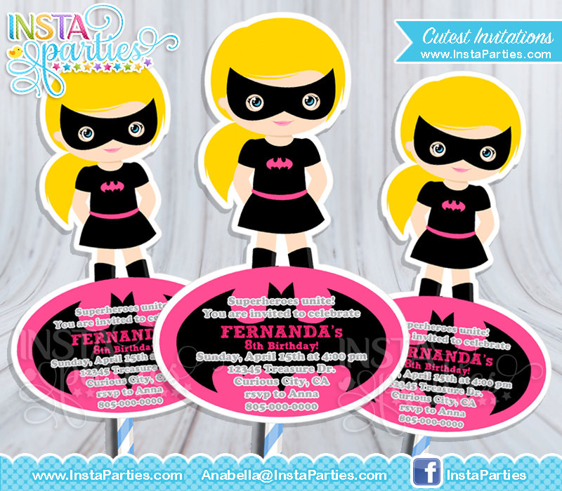 Batgirl Birthday Party Supplies  Batgirl centerpieces superhero Superheroes batman girl