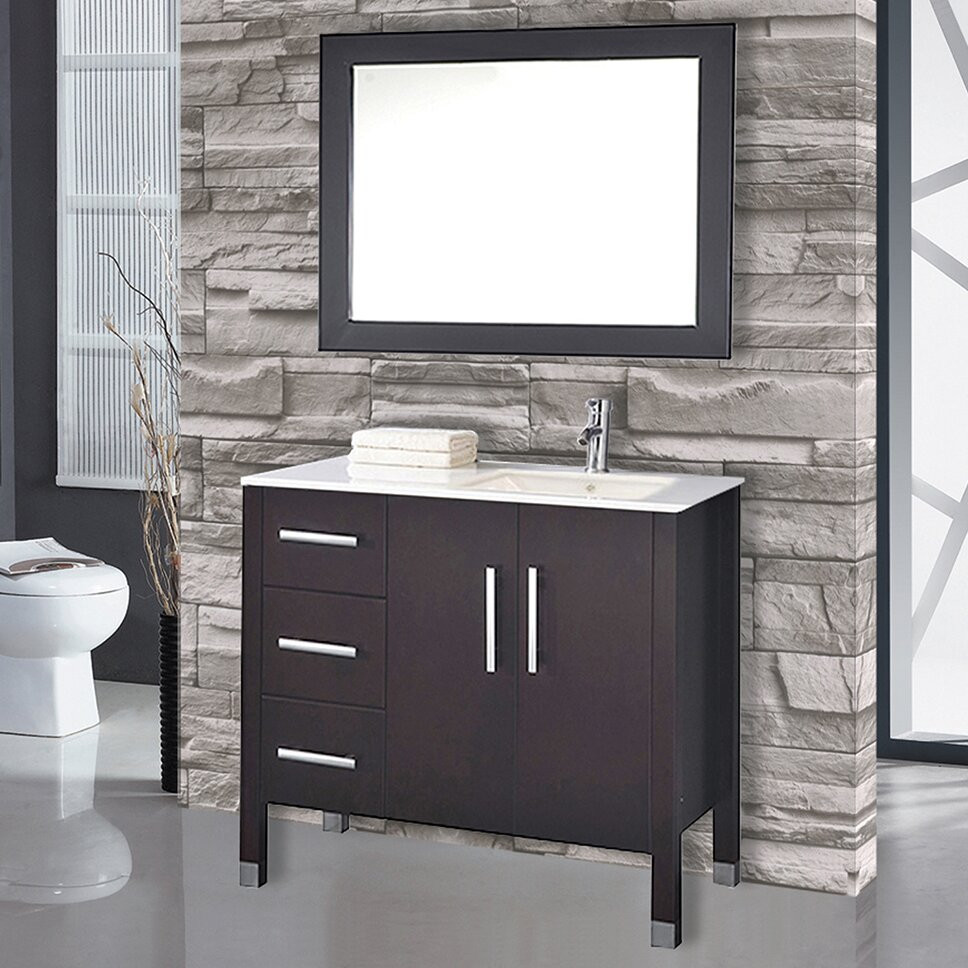 "Bathroom Sink Set  MTDVanities Monaco 40"" Single Sink Bathroom Vanity Set"