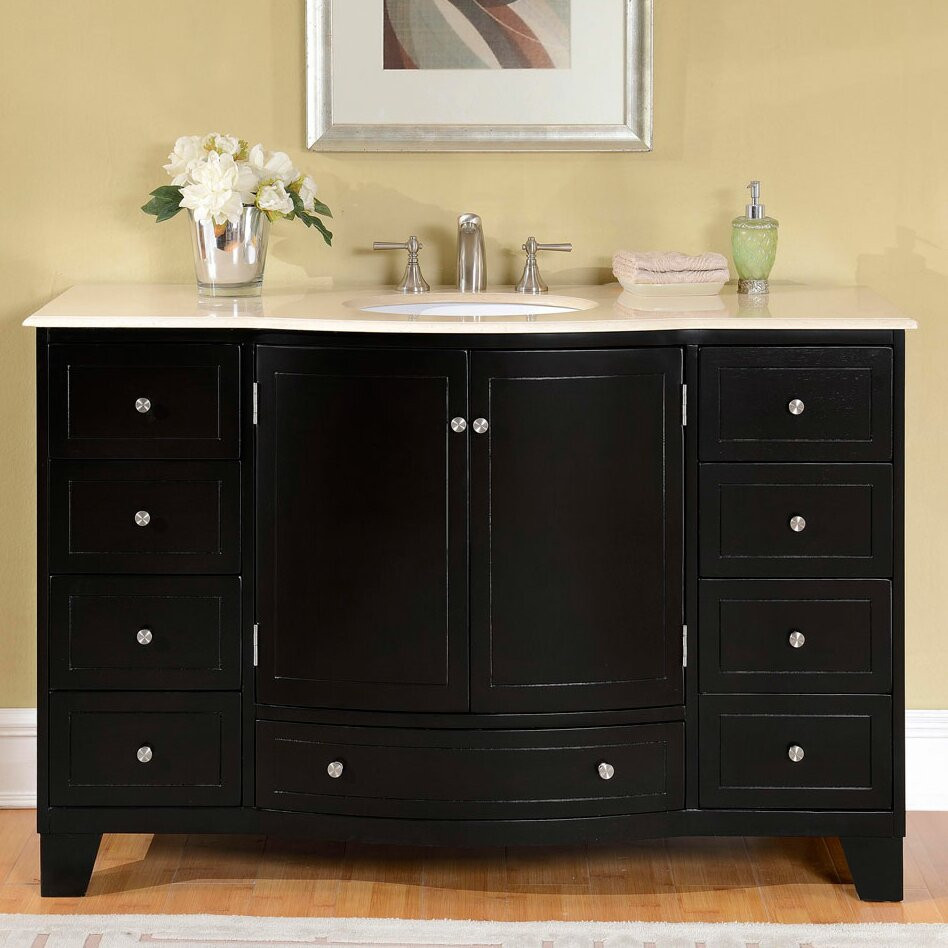 "Bathroom Sink Set  Silkroad Exclusive 55"" Single Sink Cabinet Bathroom Vanity"