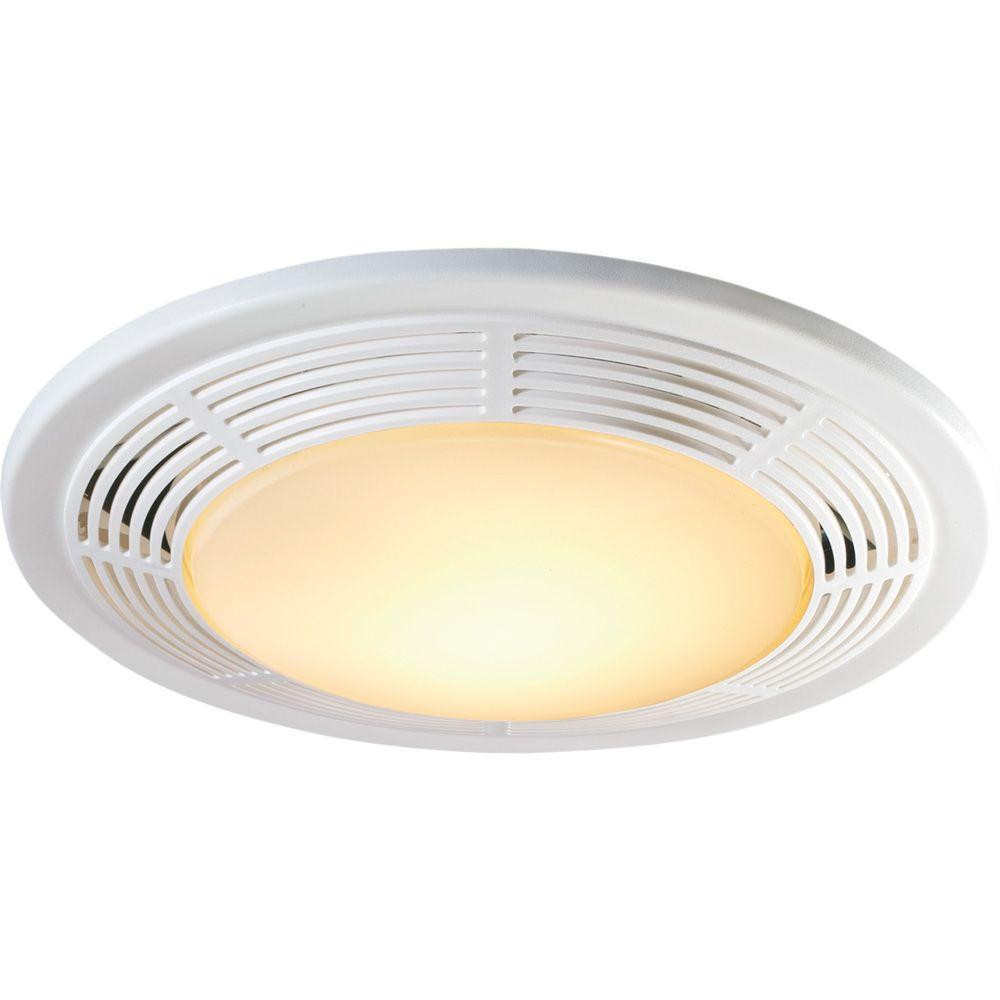 Bathroom Vent And Light  Decorative White 100 CFM Ceiling Exhaust Fan with Light