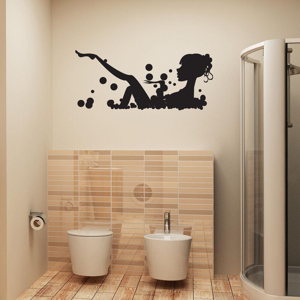 Bathroom Wall Stickers  Bathroom Wall Art Sticker Girl In Bubble Bath Vinyl Wall