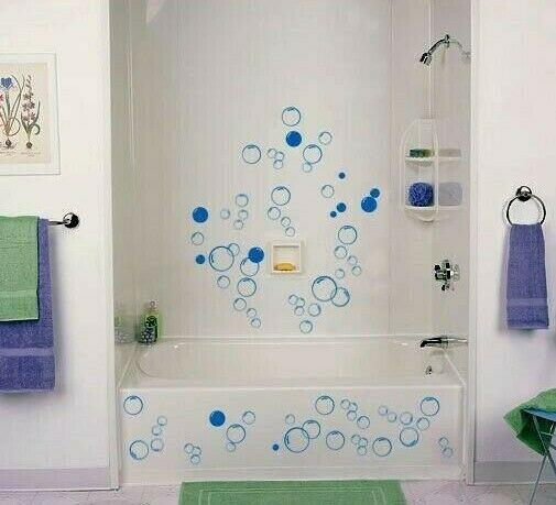 Bathroom Wall Stickers  Bathroom Bubbles Vinyl Wall Stickers Shower Door Wall Art