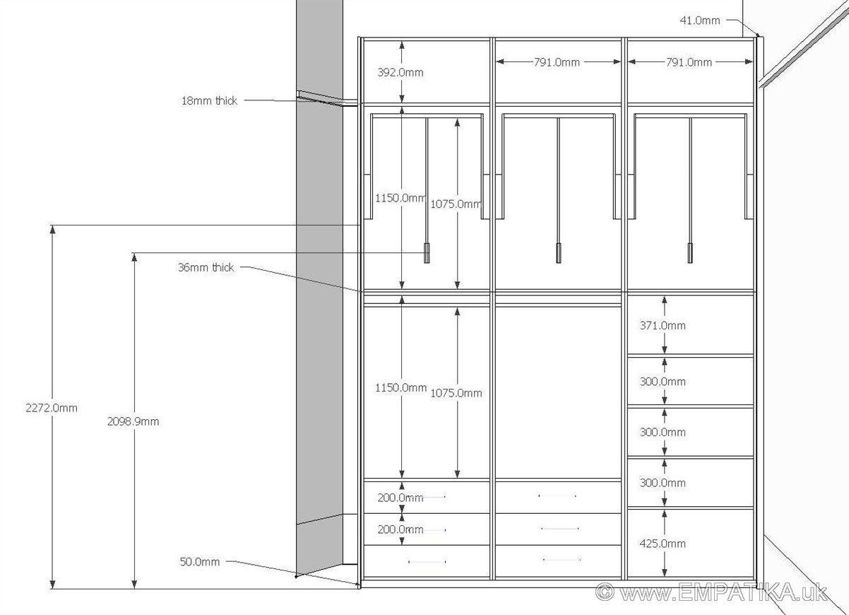 Bedroom Door Dimensions  Pax Wardrobe Interior Dimensions