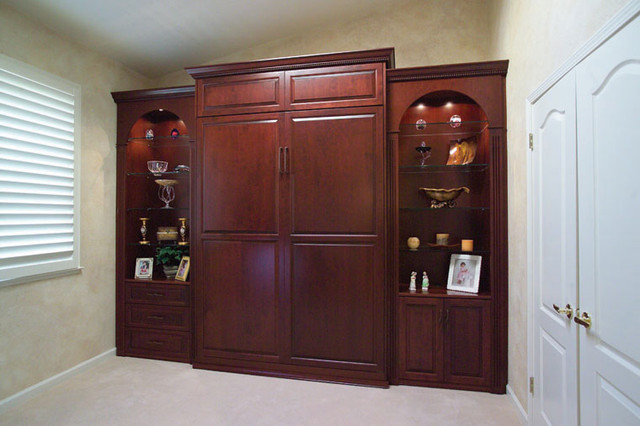 Bedroom Wall Storage Cabinets  Stained Wood Wall Bed & Side Cabinets Traditional