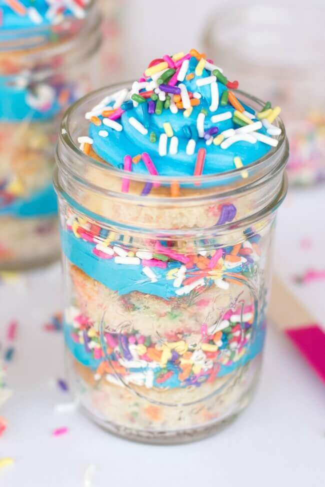 Birthday Cake In A Jar  Sprinkles Birthday Cake in Mason Jars Spaceships and