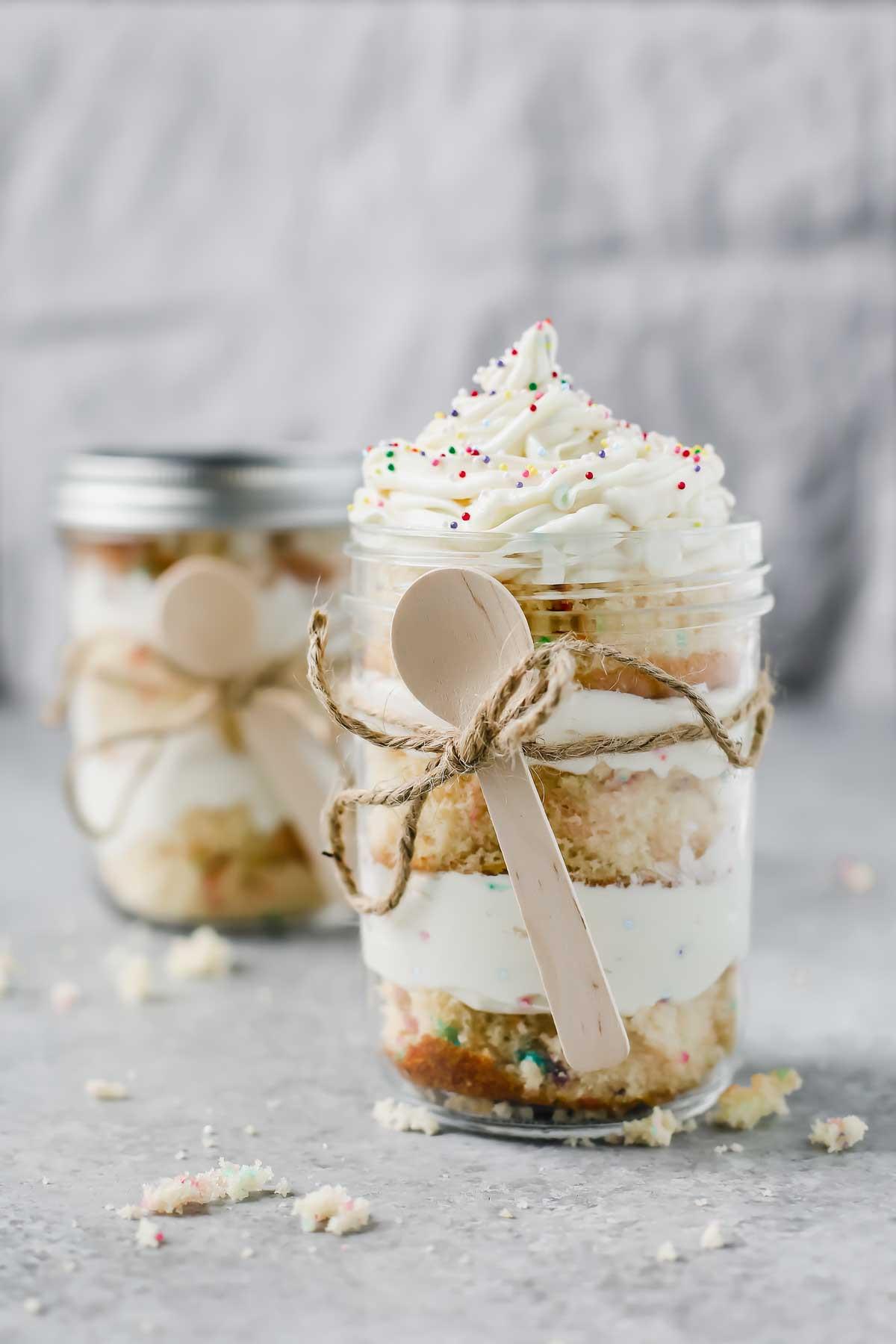 Birthday Cake In A Jar  Birthday Cake In A Jar Gift DIY Jar Lemons