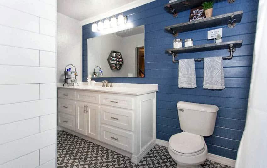 Blue Bathroom Walls  Shiplap Bathroom Ideas Designing Idea