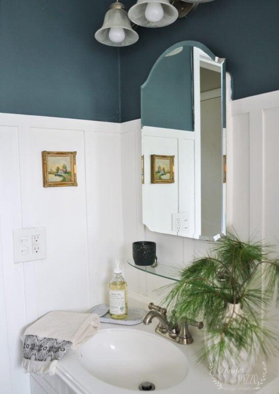 Blue Bathroom Walls  Bathroom Makeover with Dark Green Blue Walls Jennifer Rizzo