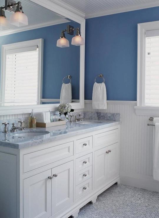 Blue Bathroom Walls  White and Blue Bathroom Transitional bathroom