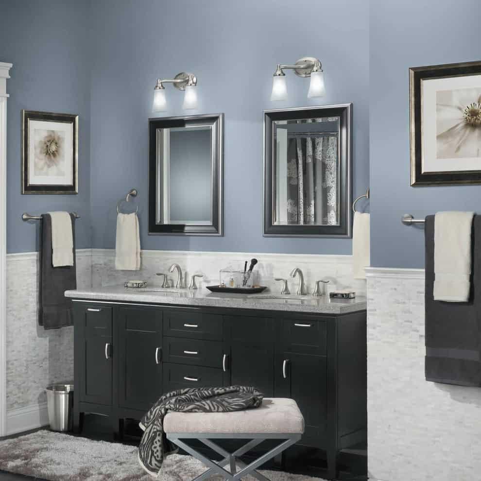Blue Bathroom Walls  Bathroom Paint Colors That Always Look Fresh and Clean