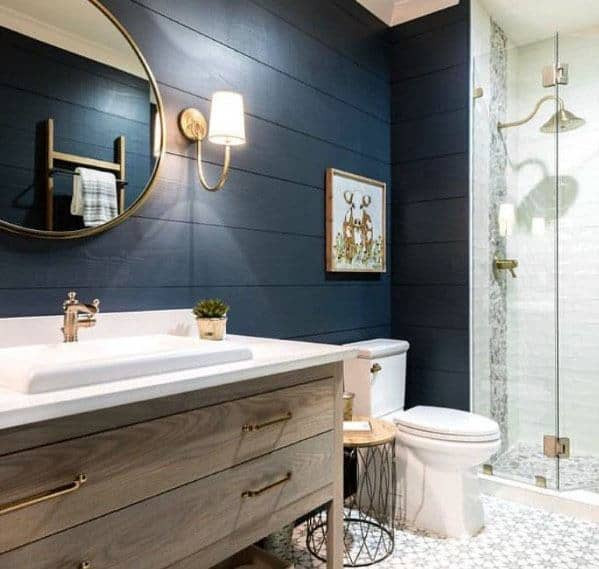 Blue Bathroom Walls  Top 50 Best Blue Bathroom Ideas Navy Themed Interior Designs