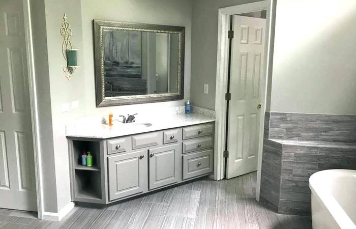 Blue Bathroom Walls  Gray Bathroom Walls Cabinets Are Repose Light Blue Grey