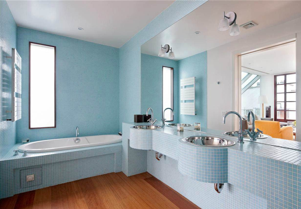 Blue Bathroom Walls  37 small blue bathroom tiles ideas and pictures