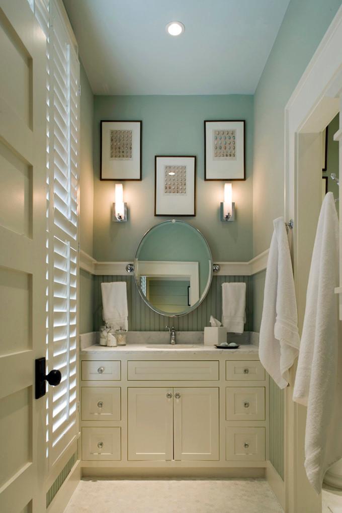 Blue Bathroom Walls  Remodelaholic