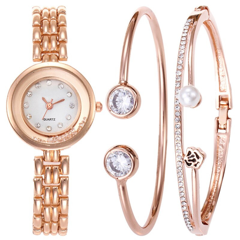 Bracelet And Watch Set  Aliexpress Buy Luxury Rhinestone Steel Strip Watch
