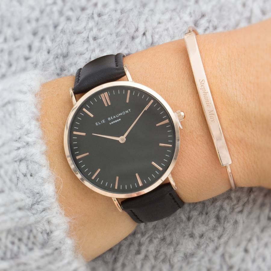 Bracelet And Watch Set  aurelia personalised watch and bar bracelet set by bloom