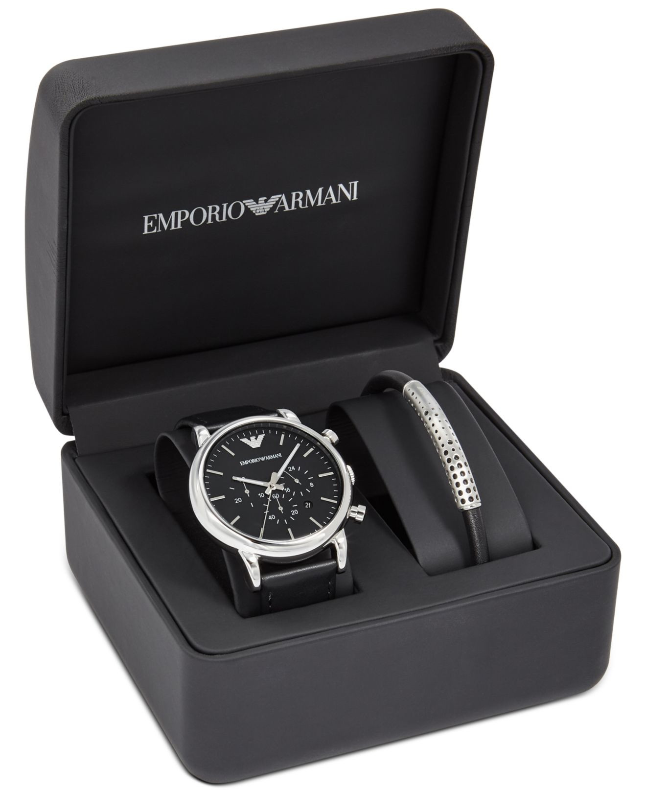 Bracelet And Watch Set  Emporio armani Men s Chronograph Luigi Black Leather Strap