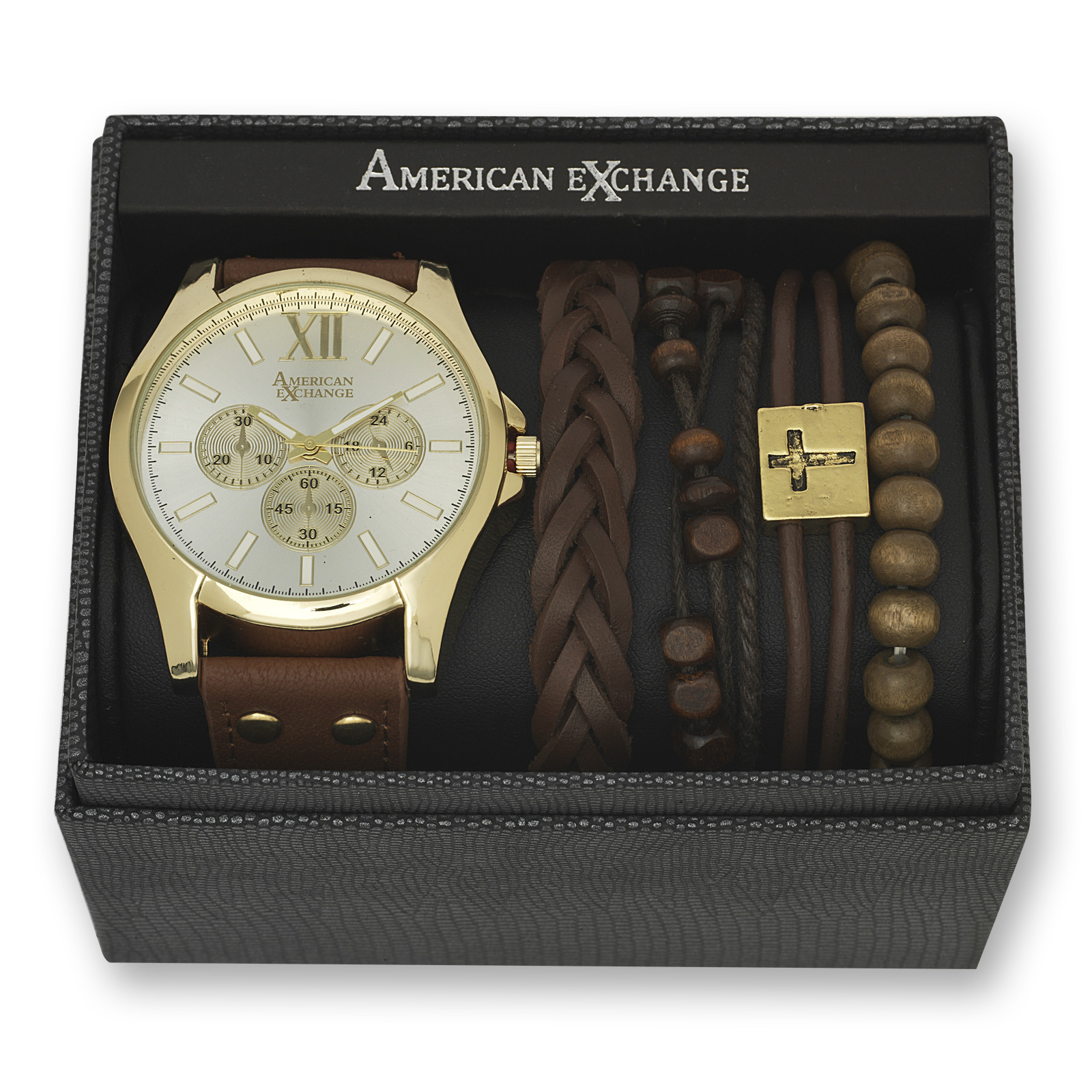 Bracelet And Watch Set  American Exchange Men s Gold and White Dial Watch and