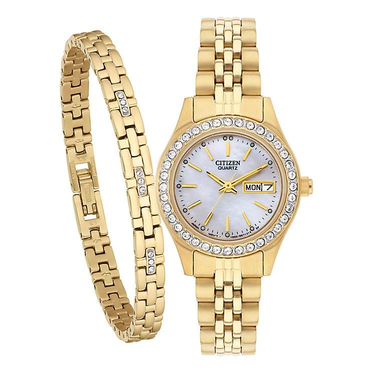 Bracelet And Watch Set  Citizen La s Crystal Watch & Bracelet Set