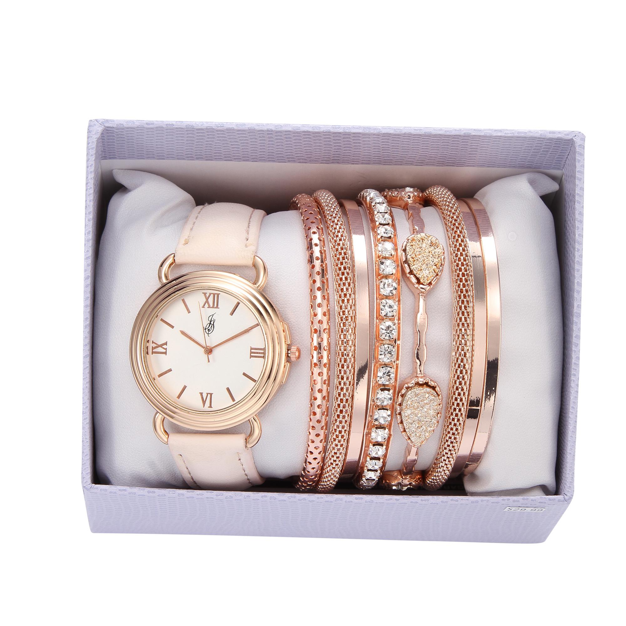 Bracelet And Watch Set  Laura Scott La s Rose Gold Blush Leather Strap Bracelet