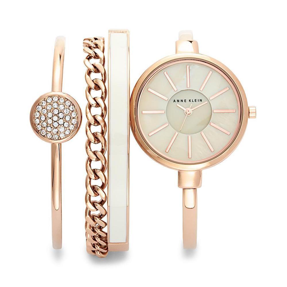 Bracelet And Watch Set  Anne Klein Rose Gold tone Watch and Bracelet Set La s