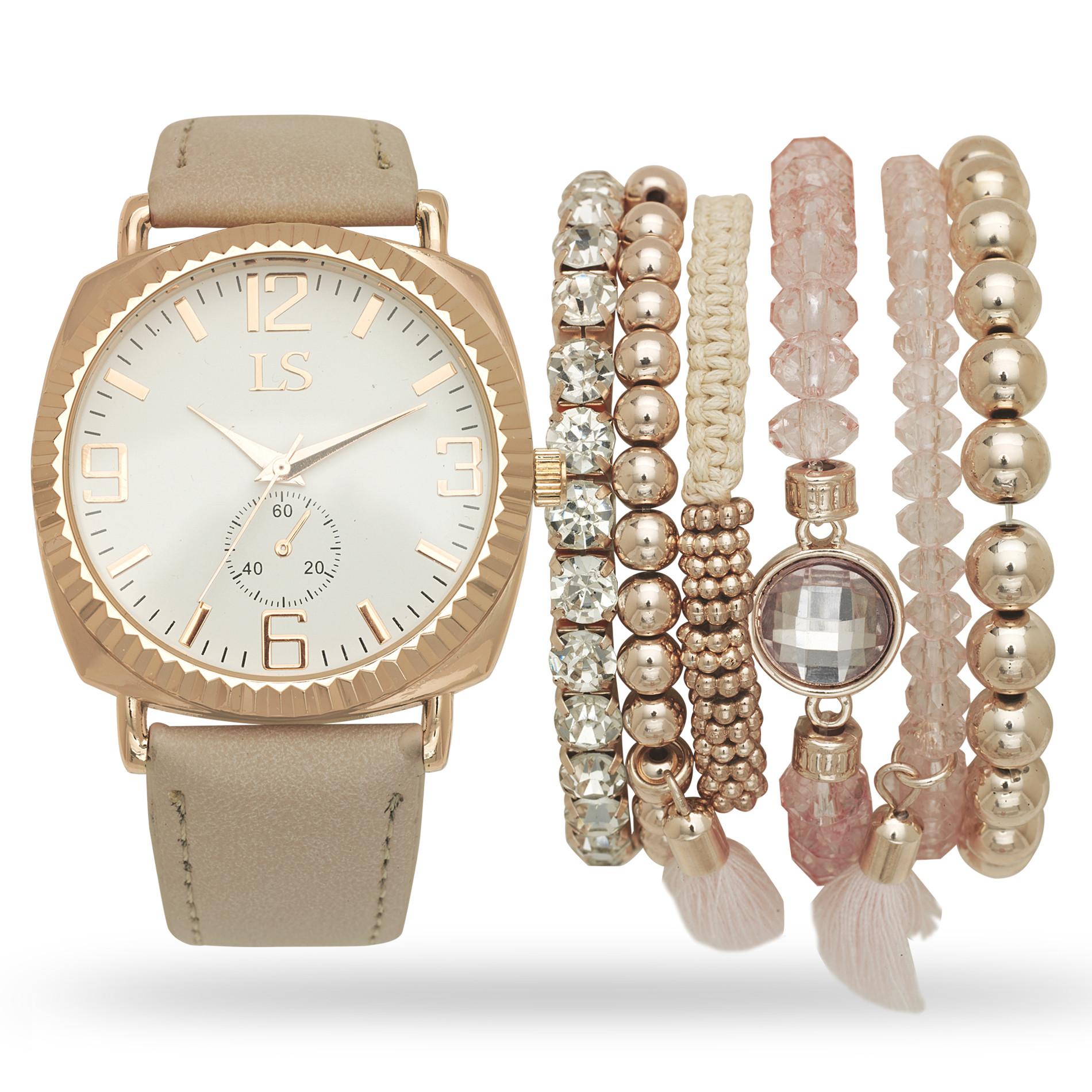 Bracelet And Watch Set  Laura Scott La s Rose Gold Watch and Bracelet Set