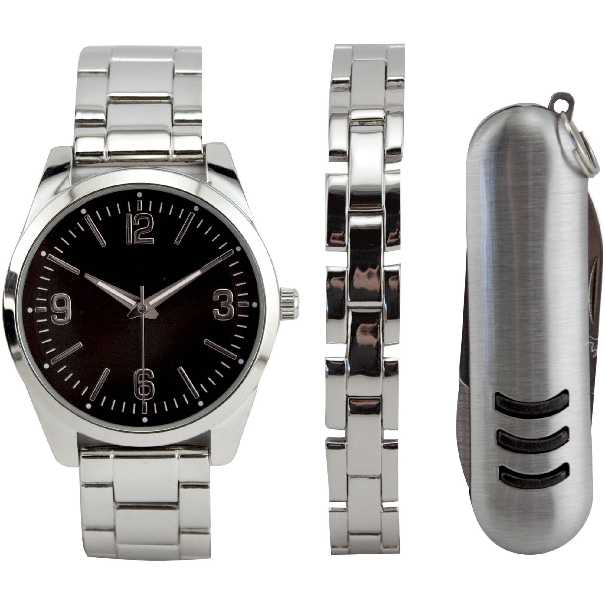 Bracelet And Watch Set  Men s Silver Watch Set with Bracelet and Multi Tool
