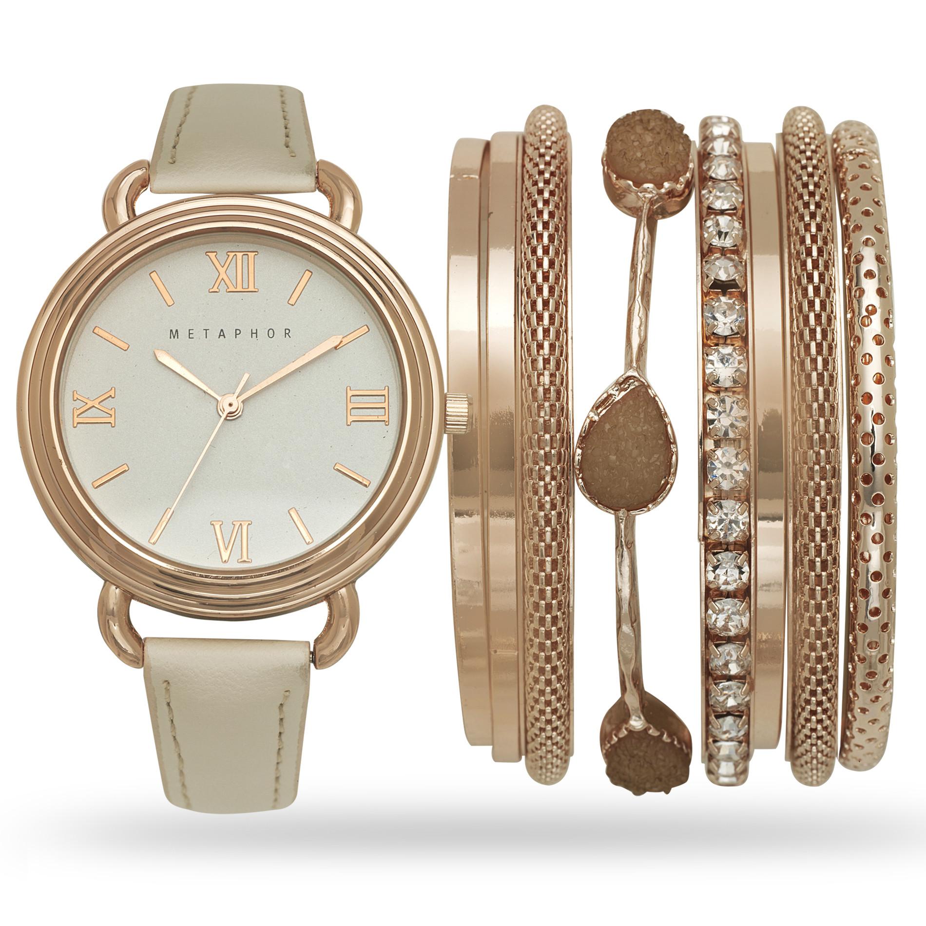 Bracelet And Watch Set  Metaphor La s Rose Gold Watch and Bracelet Set Jewelry