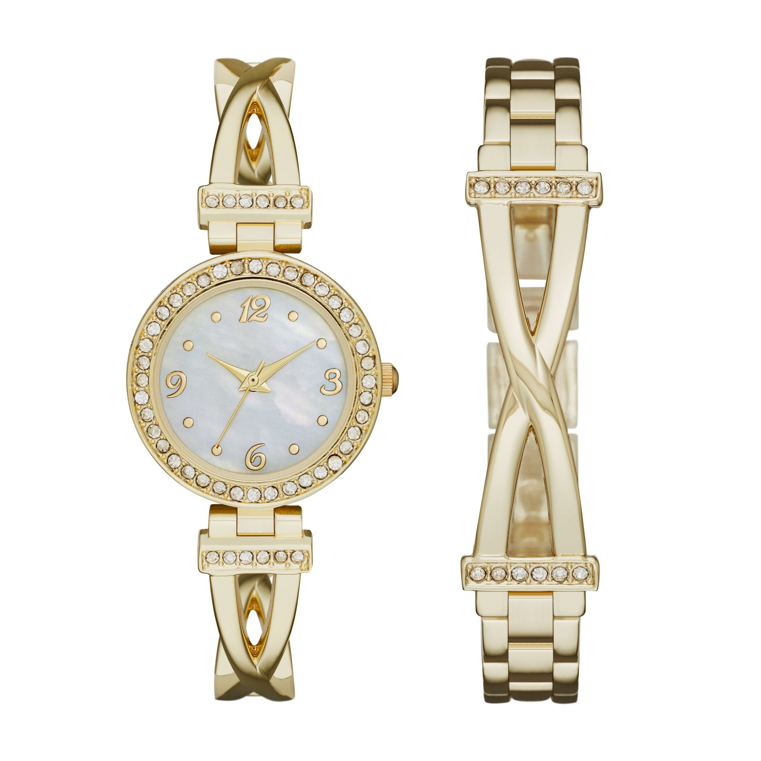 Bracelet And Watch Set  La s Goldtone Bracelet Watch Set Jewelry Watches