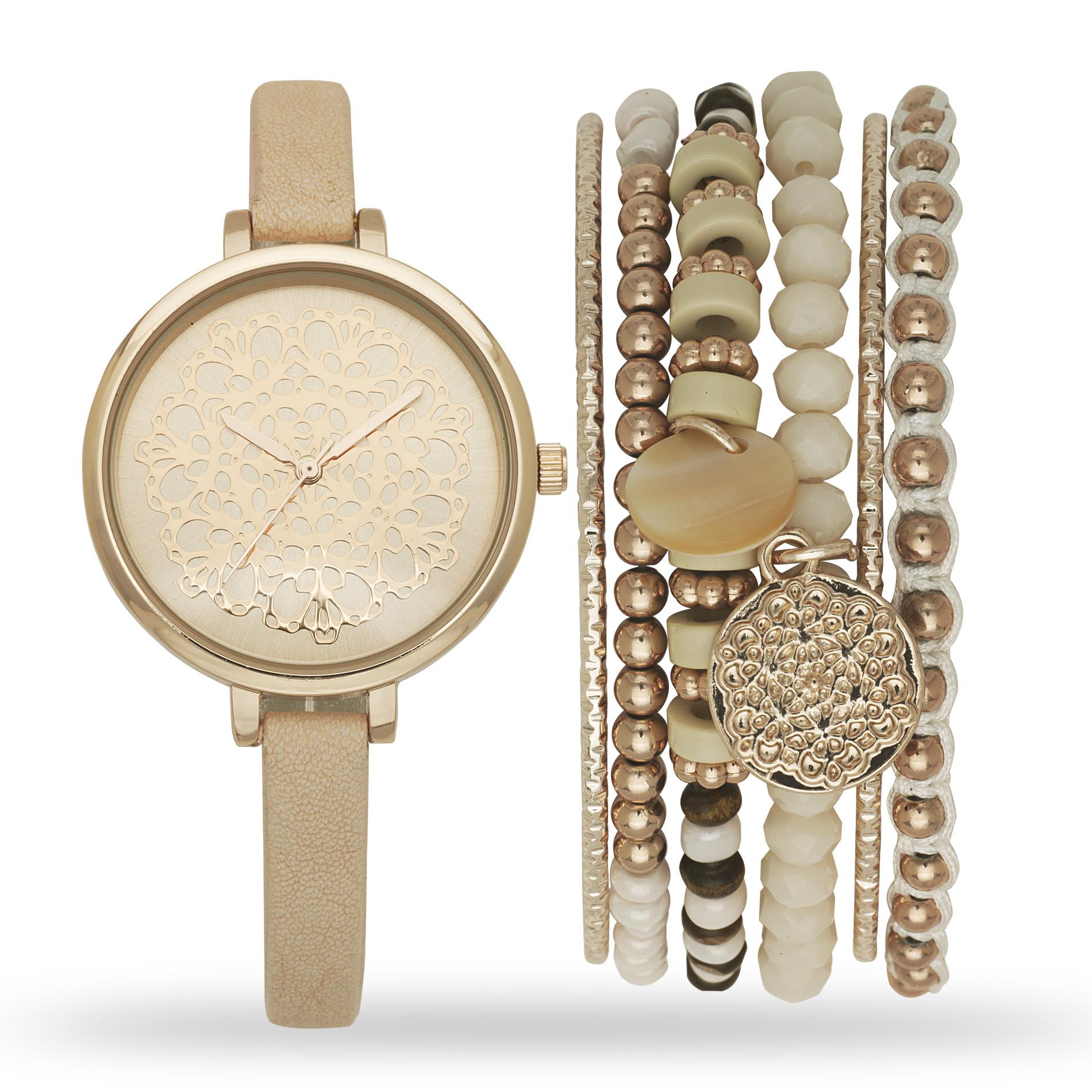 Bracelet And Watch Set  Attention La s Rosegold Watch and Bracelet Set Jewelry