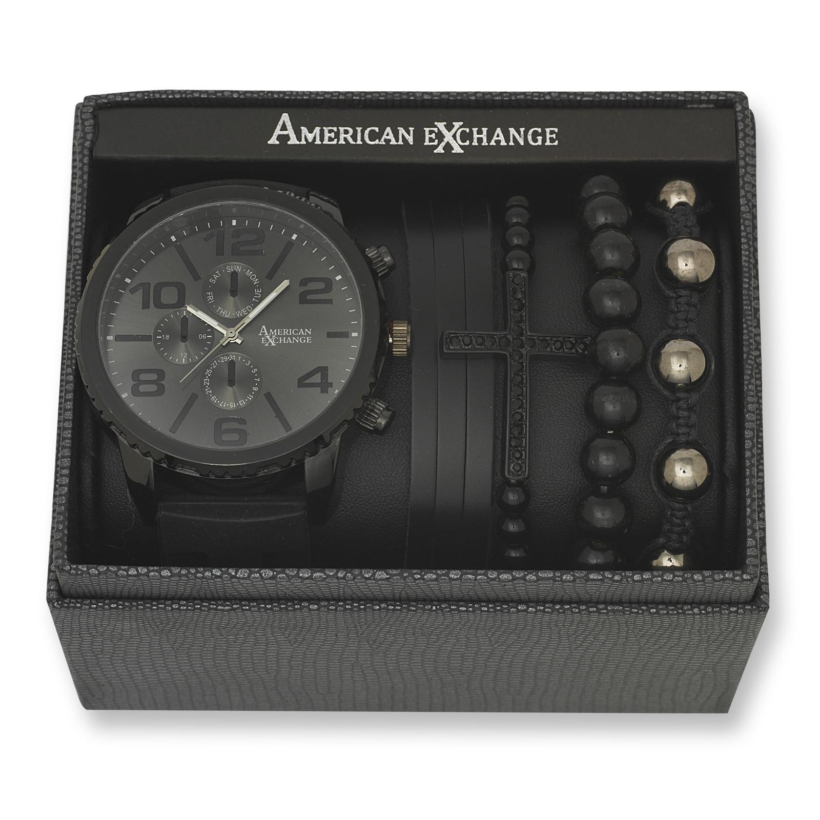 Bracelet And Watch Set  Men s Matte Black Watch and Bracelet Set Sears