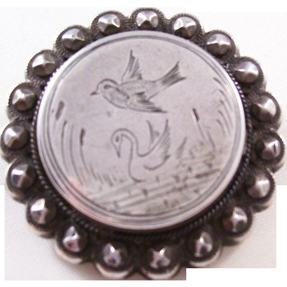Brooches Aesthetic  Victorian Sterling Silver Aesthetic Brooch Bird and Swan