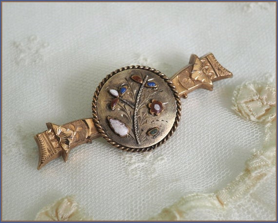 Brooches Aesthetic  Antique Victorian Gold Filled Enamel Brooch Aesthetic