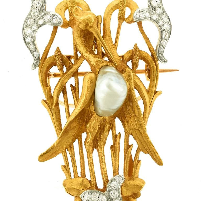 Brooches Aesthetic  Antique French Naturalist Aesthetic Gold Brooch at 1stdibs