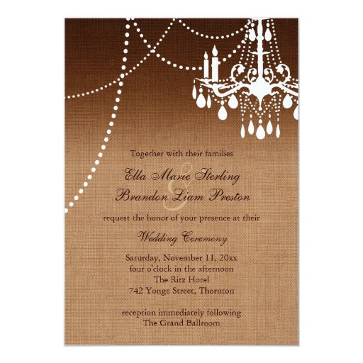 Chandelier Wedding Invitations  Ombre Chandelier Wedding Invitation