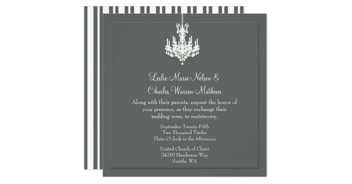 Chandelier Wedding Invitations  Elegant Chandelier Wedding Invitations